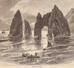 Cabo San Lucas. Dibujo de John Ross Browne. Año 1867 or 1868