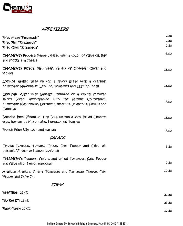 Chamuyo Restaurant -Menu Sample - Cabo San Lucas, Los Cabos, Mexico