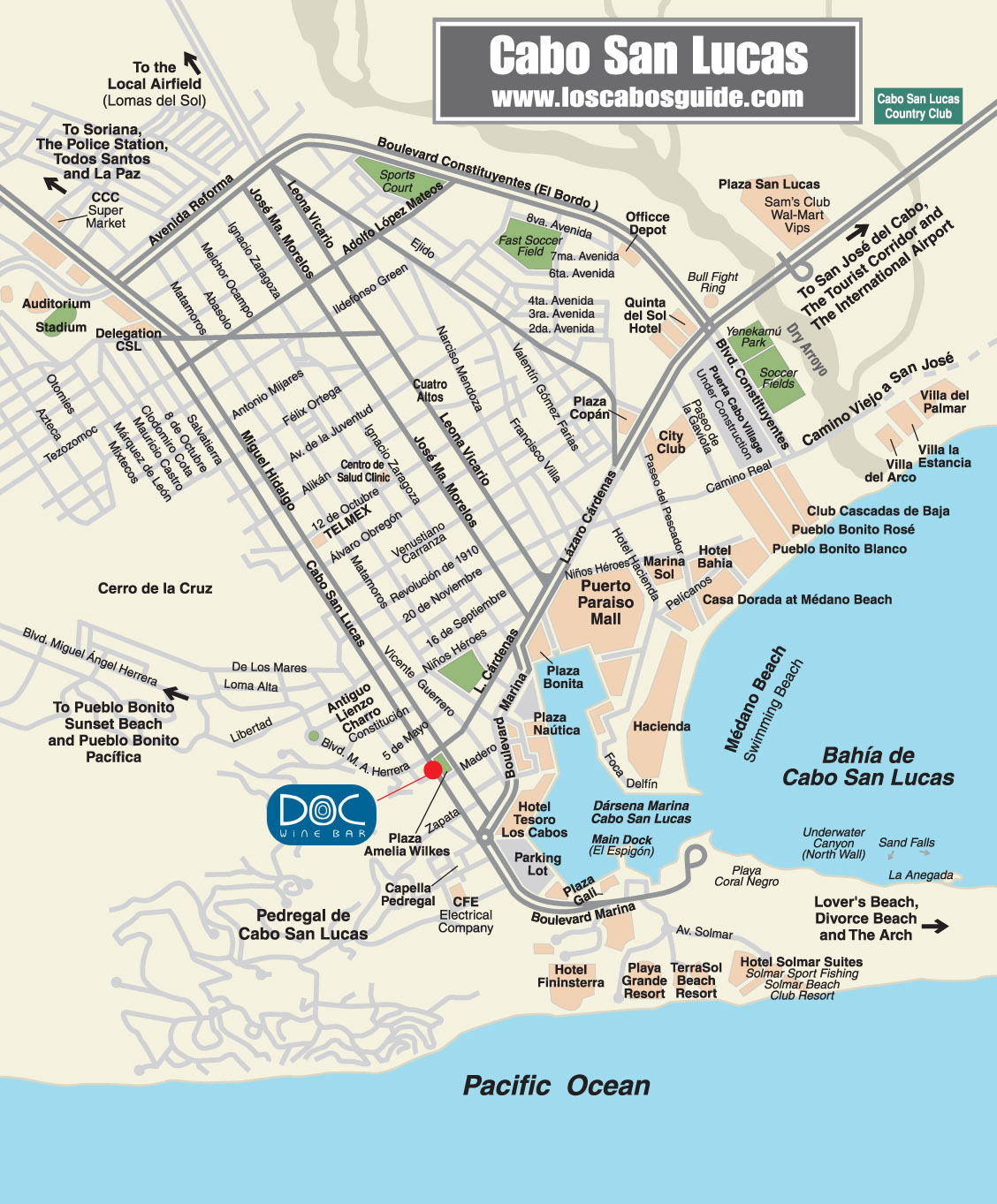 Doc Wine Bar and Italian Restaurant Map Cabo San Lucas Los