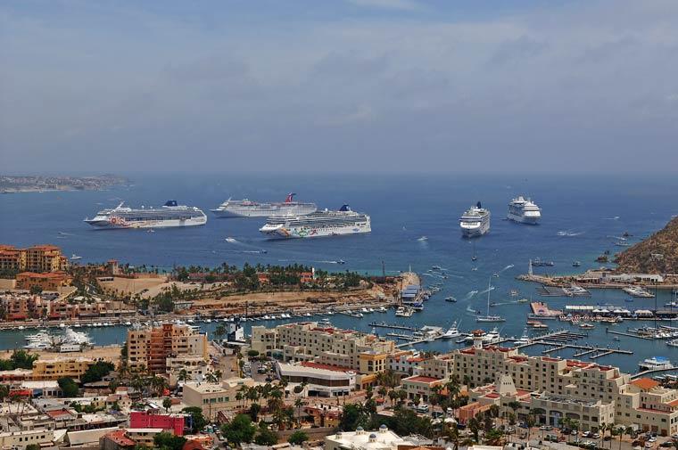 Five Cruise Ships In Cabo San Lucas Harbor