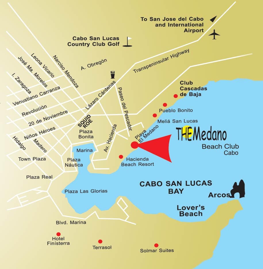 The Medano Beach Club Cabo Location Map San Lucas Mexico