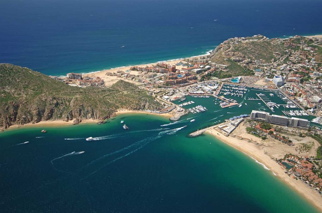 Aerial view of Medano Beach, harbor, marina and ocean at Cabo San Lucas.