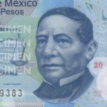 Photo of President Benito Juárez on the 2010 series 20 pesos bank note.