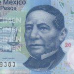 Photo of President Benito Juárez on the 2010 series 20 pesos bank note.