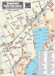 Cabo San Lucas Downtown Map, LCM July 2016