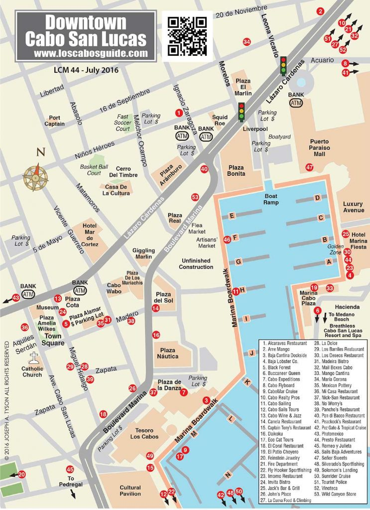 Cabo San Lucas Downtown Map Cabo San Lucas, Los Cabos Downtown San Go Map on