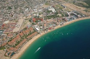 Aerial view of Medano Beach Cabo San Lucas.