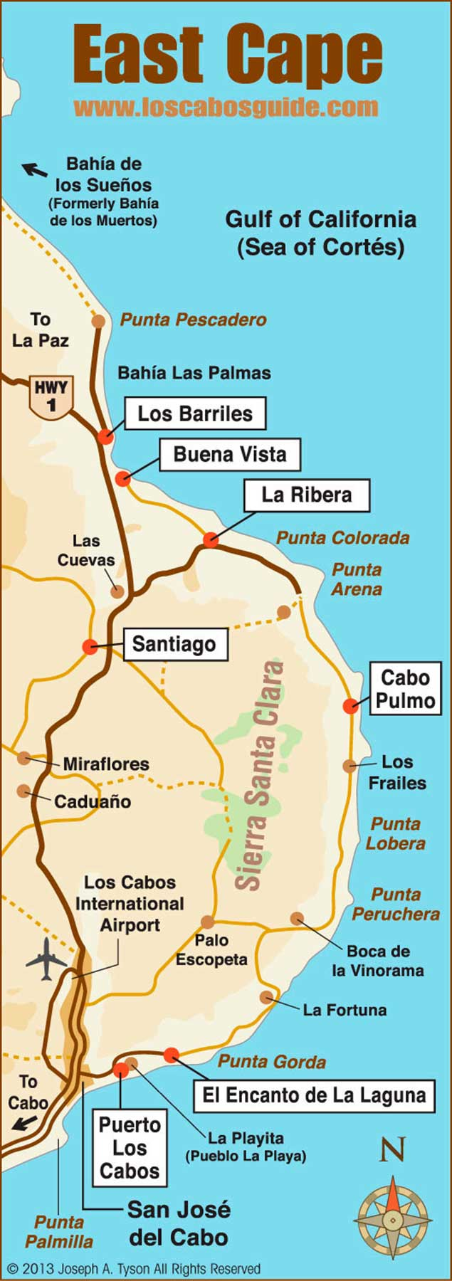 East Cape Baja Map - Los Cabos Guide
