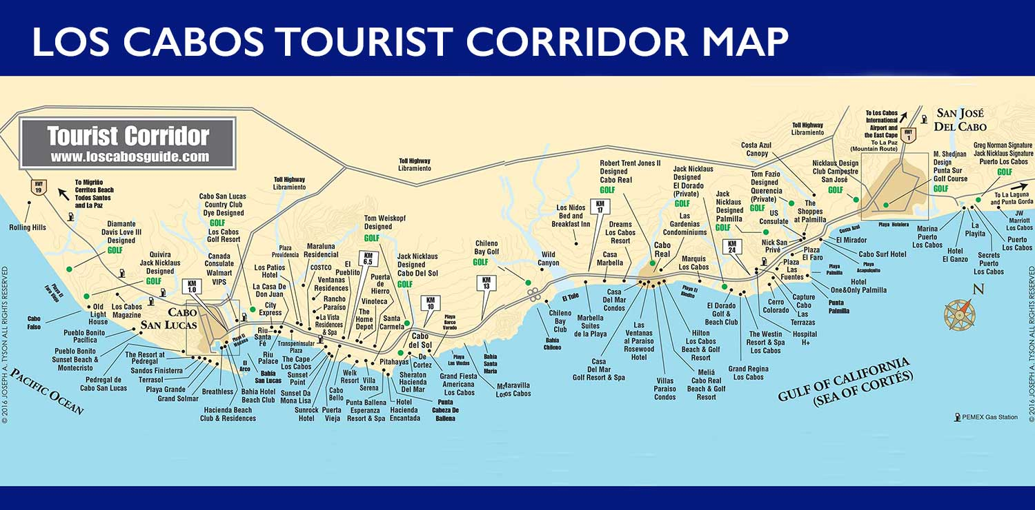 Tourist Corridor Map Cabo San Lucas and San Jose del Cabo