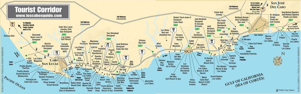 Tourist Corridor Map Cabo San Lucas and San Jose del Cabo on
