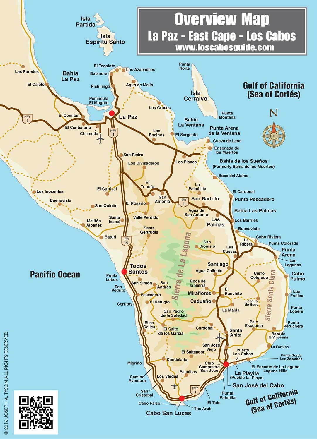 Overview Map of Southern Baja - Los Cabos Guide