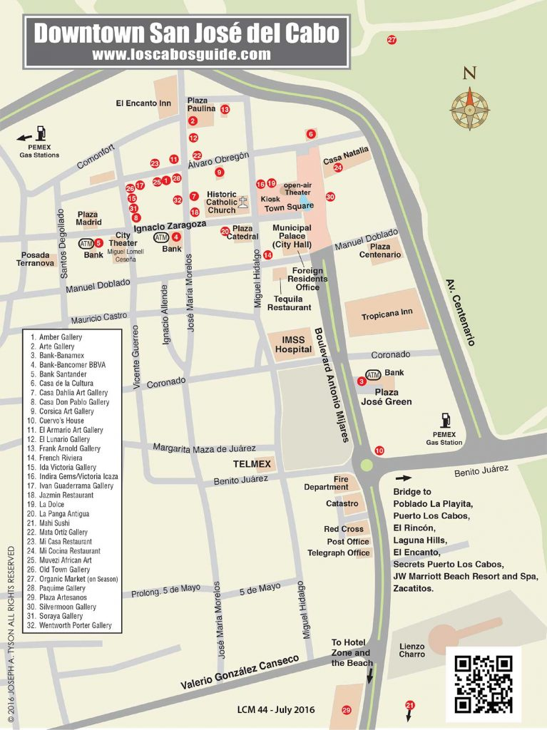 San Jose del Cabo Downtown Map