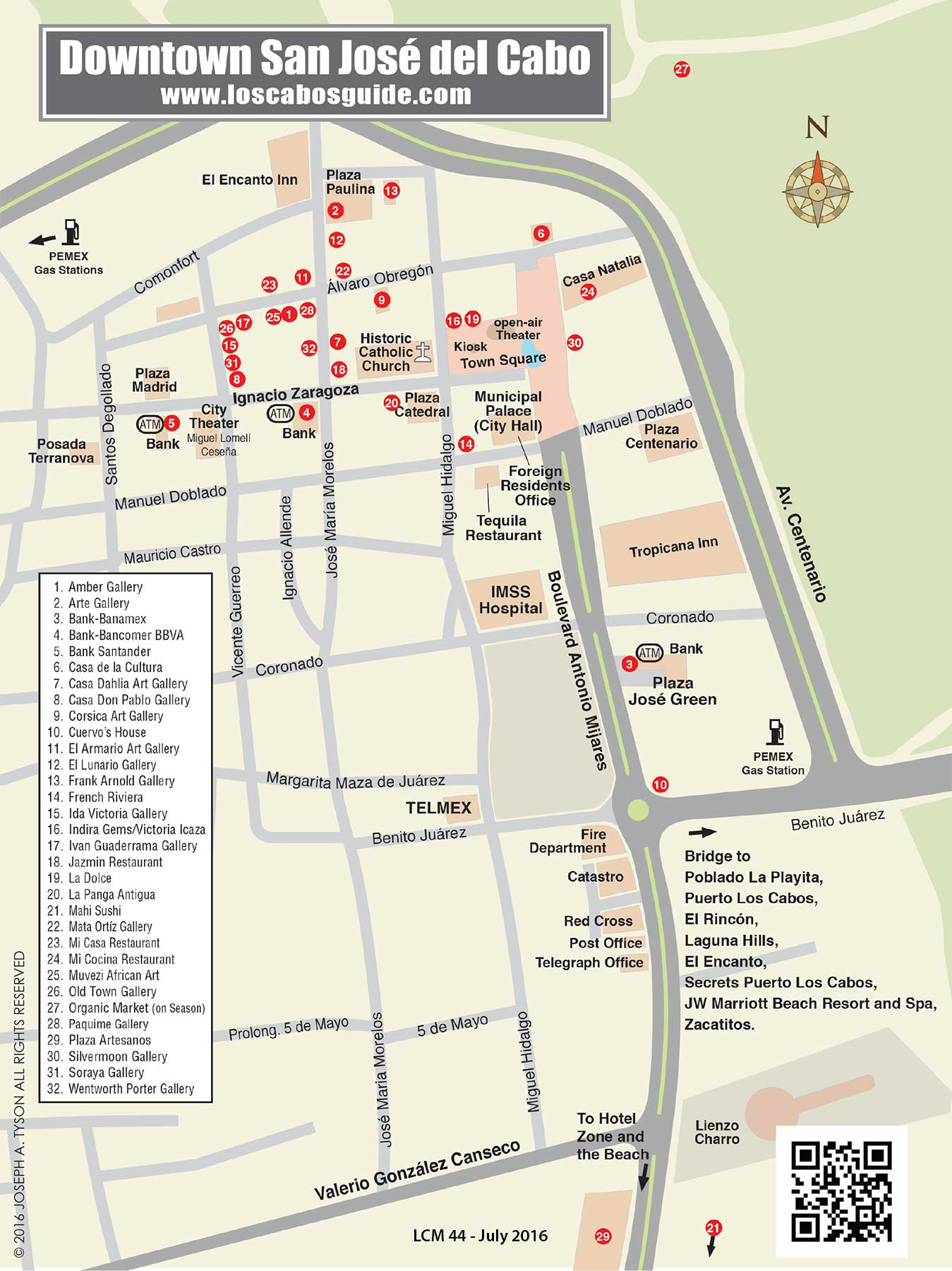San Jose del Cabo Downtown Map – Tourist Attractions Map In San Jose