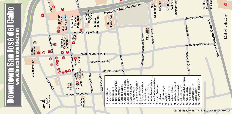 San Jose del Cabo Downtown Map San José del Cabo Los Cabos Baja