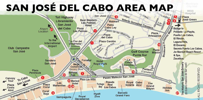San José del Cabo Map San Jose del Cabo, Los Cabos, Baja on