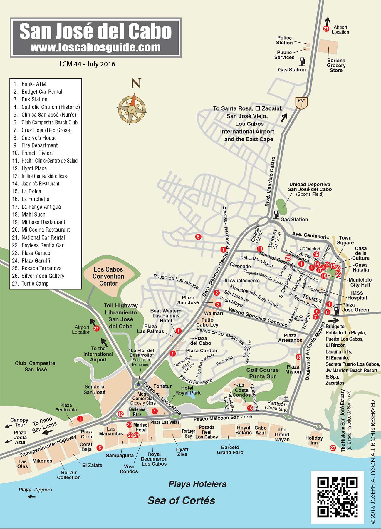 San Jose del Cabo Map – Tourist Attractions Map In San Jose