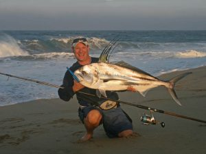 Jansen with a Sierra Mackerel, Surf Fishing Cabo San Lucas