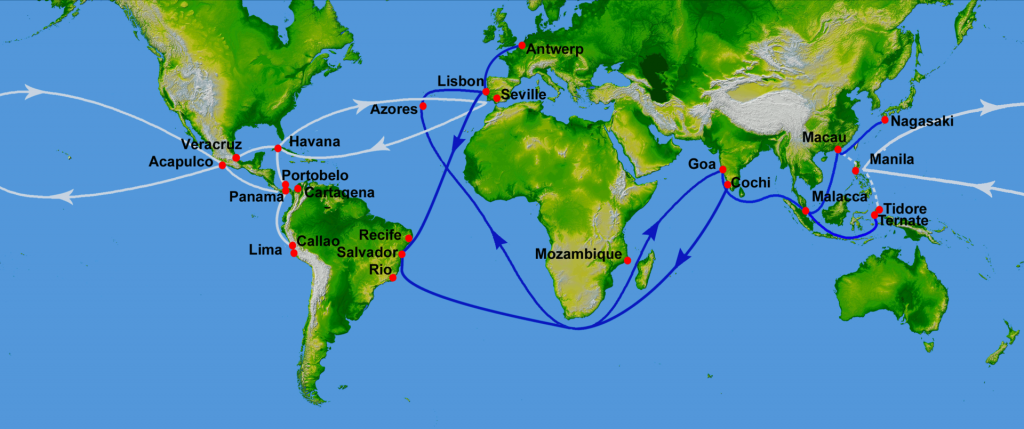 The Manila – Acapulco galleon trade began in 1565, when a favorable eastward route from Manila to North America was discovered by Spanish navigators Alonso de Arellano and Andrés de Urdaneta. White lines in this map of 16th century sea trade denote Spanish routes, blue lines those of Portugal.