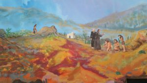 Mural of the Jesuits converting the Pericúes, the original inhabitants of the Capes Region.