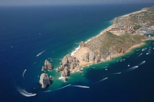 An aerial view of Land's End. A Brief History of Los Cabos