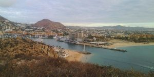 View of the Cabo San Lucas Marina and Playa El Médano from a bluff on Cerro del Vigía. Image courtesy of Chris Sands.