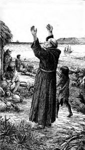Fr. Junípero Serra was charged with leading the Franciscan missionaries in peninsular California after the Jesuits were expelled in 1768. He also founded the first nine missions in what is now the U.S. state of California, and was declared a Catholic saint in 2015.