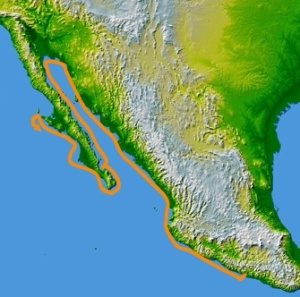 The route of Francisco de Ulloa, who was commissioned by Cortés to explore the west coast of México (then known as New Spain) in 1539. Image courtesy of Jmgonzalez-commonswiki.