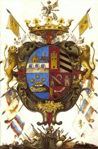 The coat of arms of the Marqués de Villapuente, by far the most generous benefactor during the peninsula's Jesuit mission period.