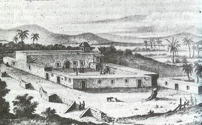 The Misión de Nuestra Señora de Loreto Conchó as it looked in the 18th century, when the Jesuit, Franciscan and Dominican religious orders successively sought to convert indigenous inhabitants in Baja California.