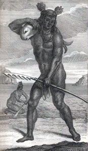 Shelvocke drawing of a Pericú fisherman.