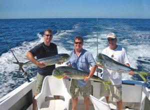 Crazy Eddie and crew with 3 dorado - RedRum Sportfishing