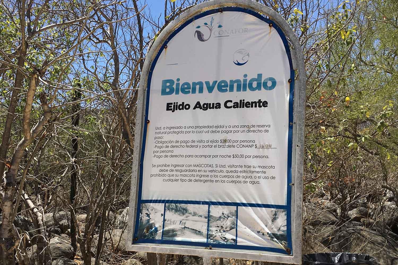 Sign at Ejido Agua Caliente BCS 2017