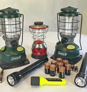 Battery operated flashlights and lanterns.