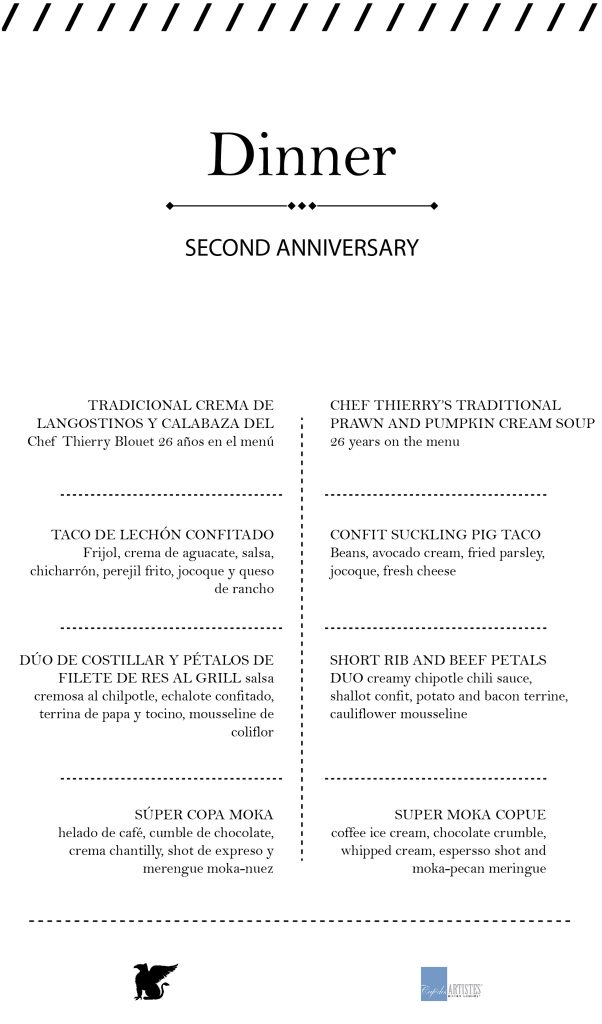 The special menu prepared for this anniversary celebration left all diners fascinated.