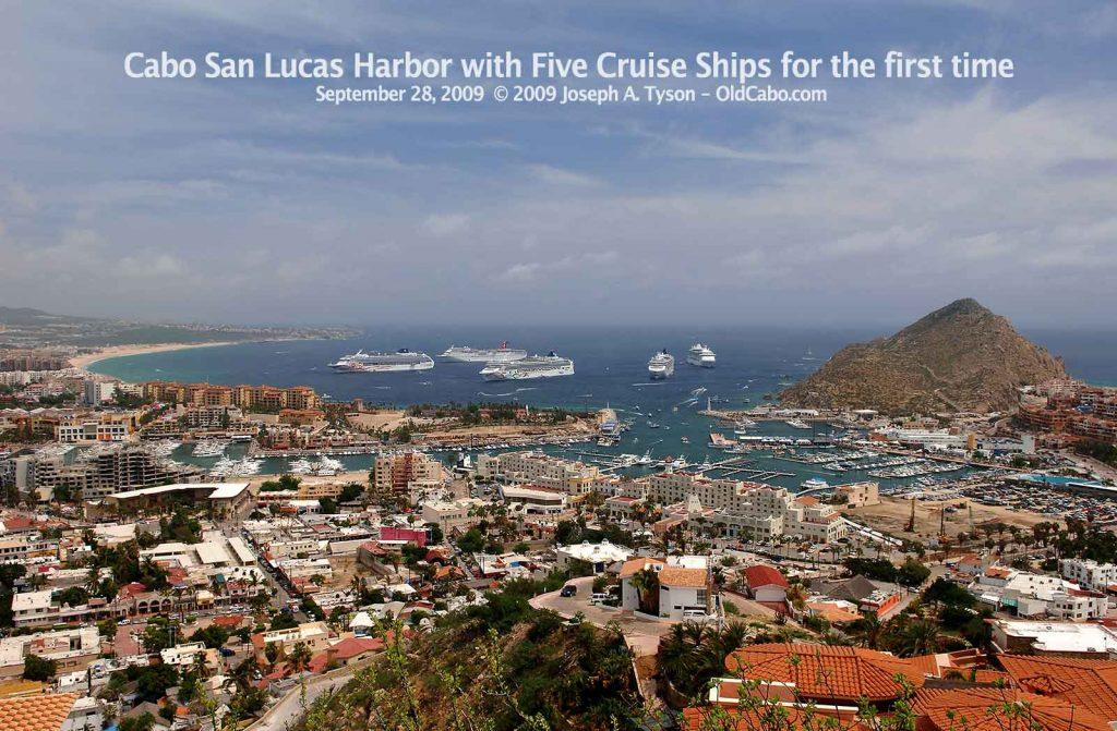 Five Cruise Ships in Cabo San Lucas Harbor for the first time on 29 September, 2009