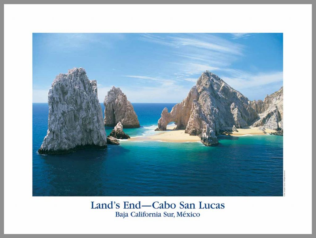 Lands End Cabo poster with sand under the arch