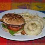 Hamburger with Fries and Onion Rings