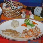 Fish (Cabrilla) and Shrimp with vegetables and rice